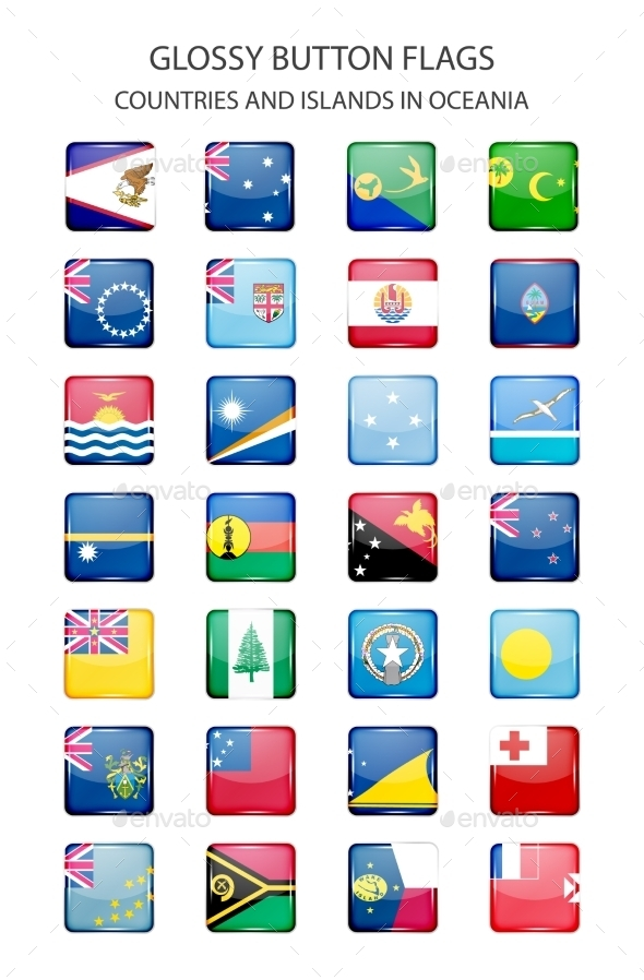 Glossy Button Flags - Oceania - Web Elements Vectors