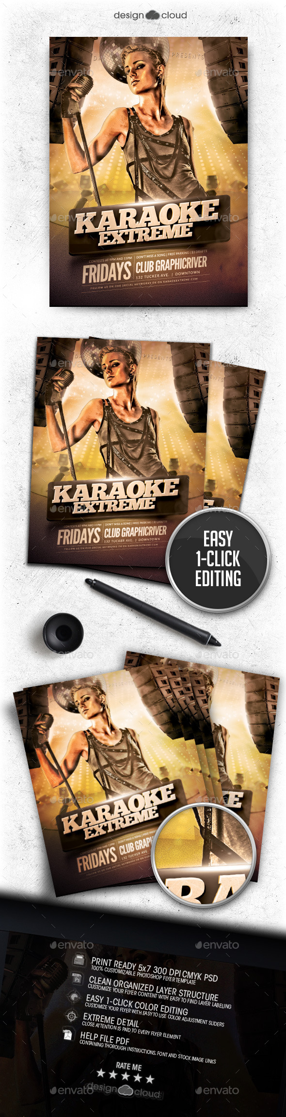 Karaoke Extreme Flyer Template - Clubs & Parties Events