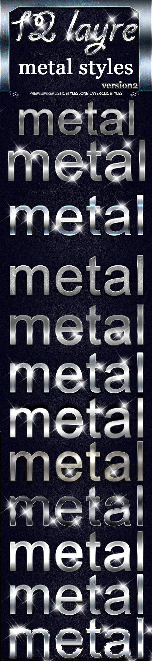 12 Layer Metal Styles 2 - Text Effects Styles