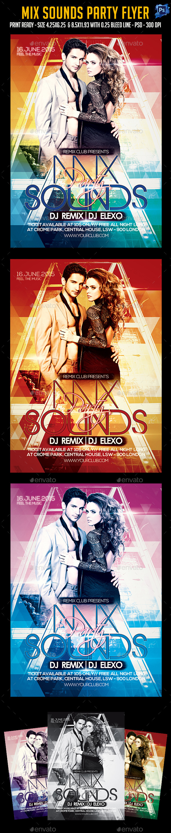Mix Sounds Party Flyer - Clubs & Parties Events