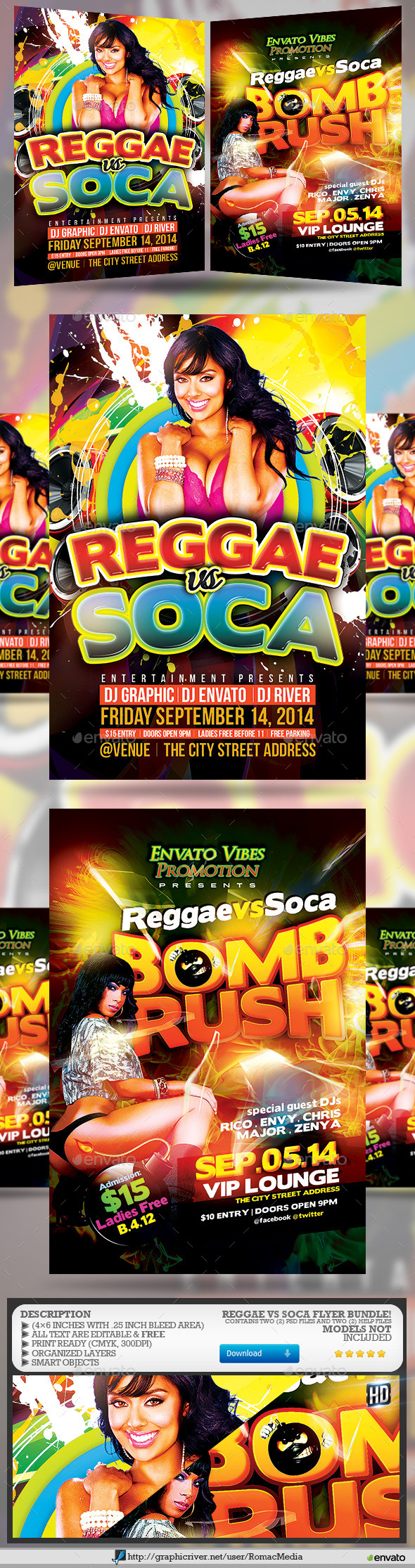 Reggae vs Soca Party Flyer Bundle - Clubs & Parties Events