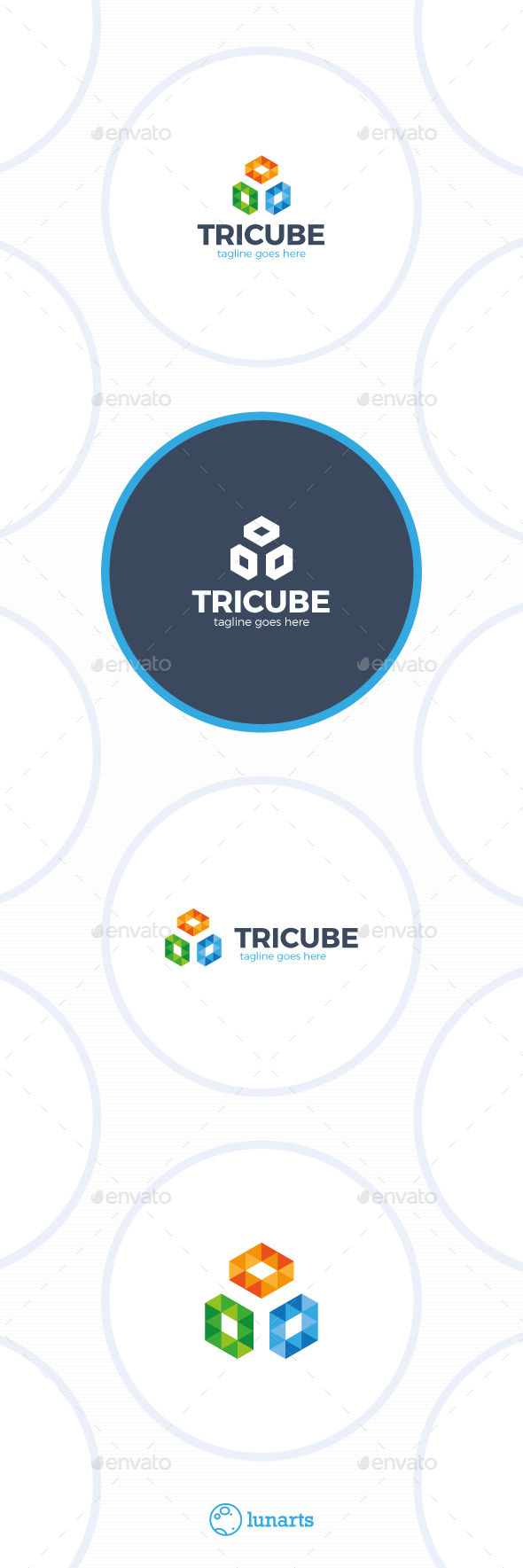 Three Cube Logo - Trinity Triangle Square - Abstract Logo Templates