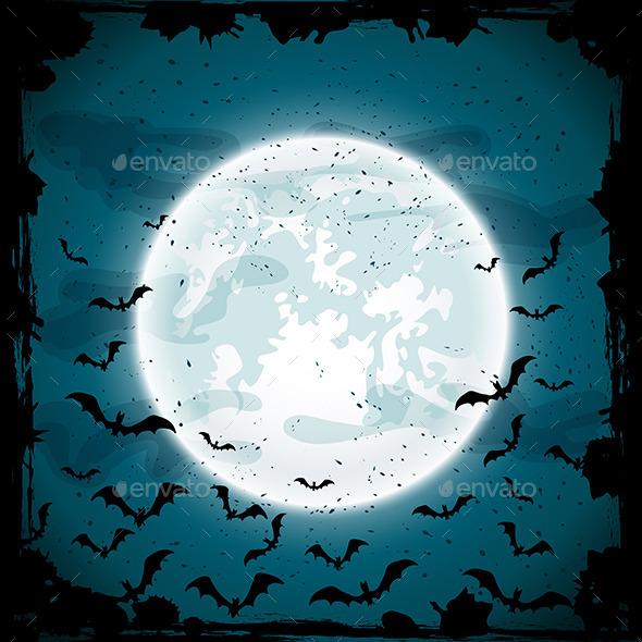 Moon and Bats - Halloween Seasons/Holidays