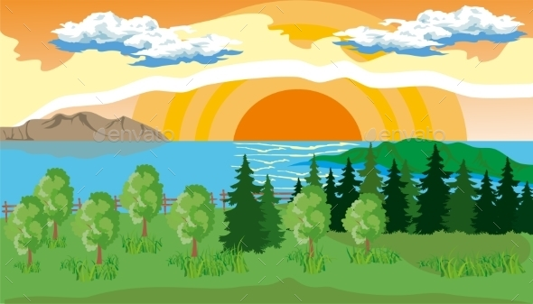 Landscape With Trees, Lake And Sun - Landscapes Nature