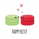 Postcard Happy Kiss. Lovers Macaroon. - GraphicRiver Item for Sale