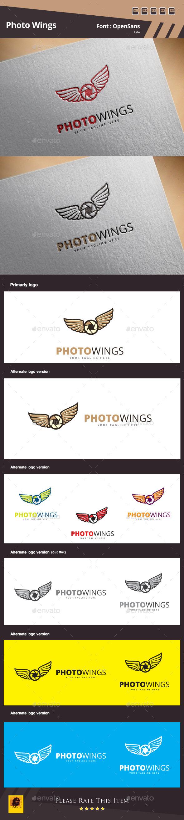 Photo Wings Logo Template - Symbols Logo Templates