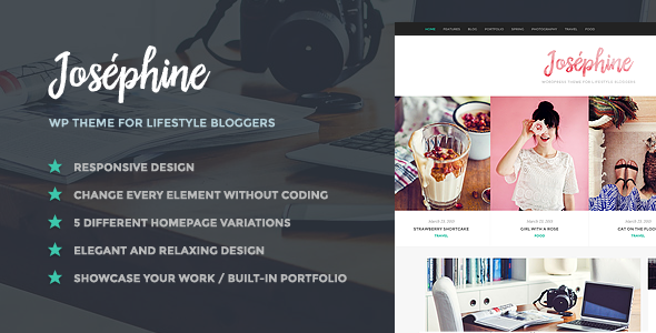 Josephine - WordPress Theme For Lifestyle Bloggers - Personal Blog / Magazine