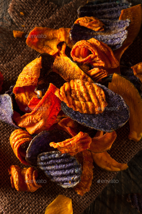 Healthy Organic Vegetable Chips - Stock Photo - Images