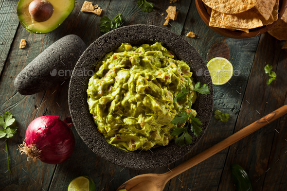 Homemade Fresh Guacamole and Chips - Stock Photo - Images