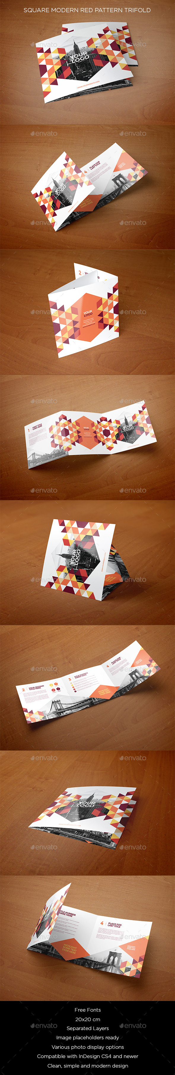 Square Modern Red Pattern Trifold - Brochures Print Templates