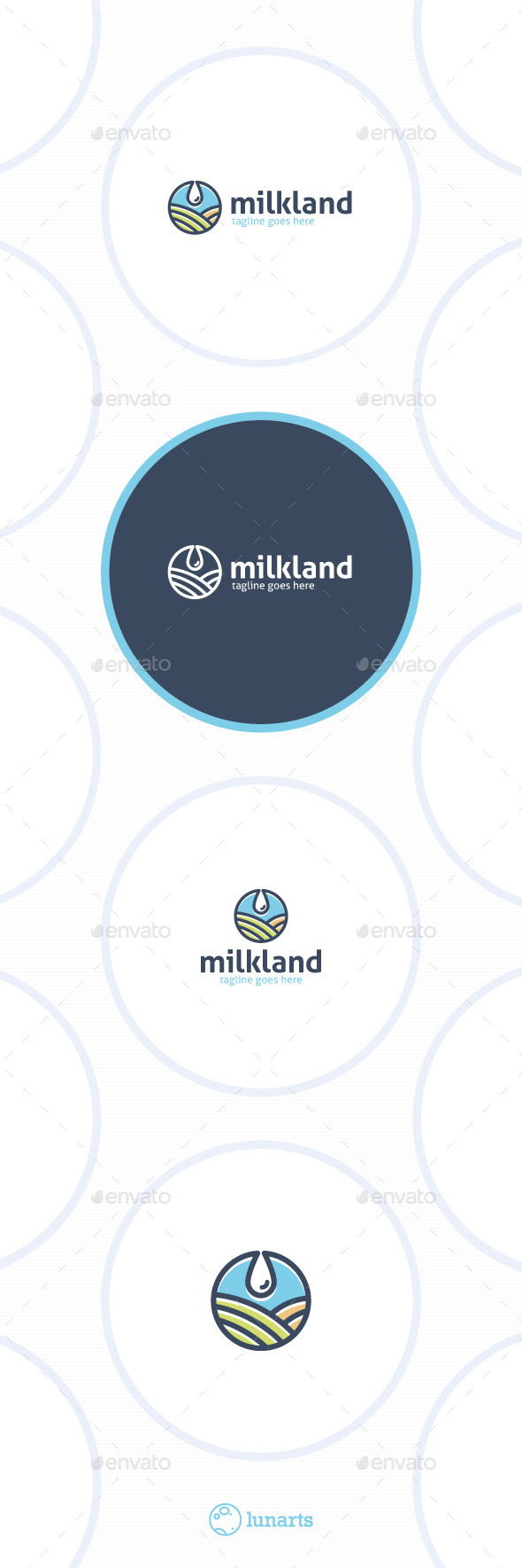 Milk Land Logo - Drop Field - Nature Logo Templates