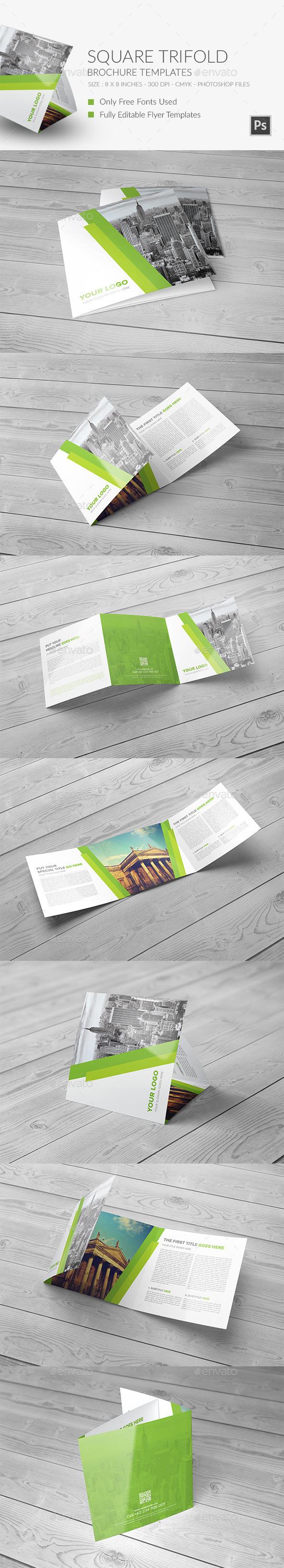 Square Trifold Brochure vol 1 - Brochures Print Templates