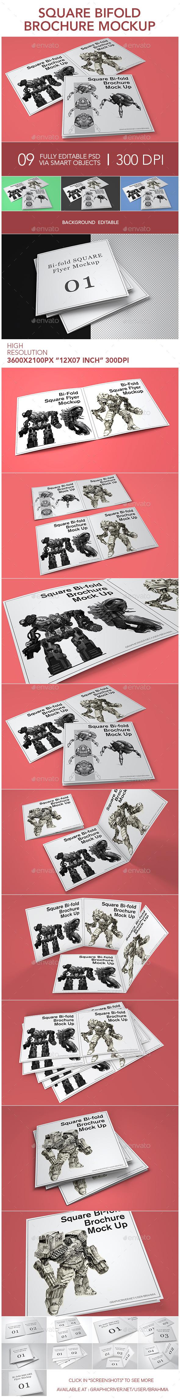 Square Bifold Brochure Mockup - Brochures Print