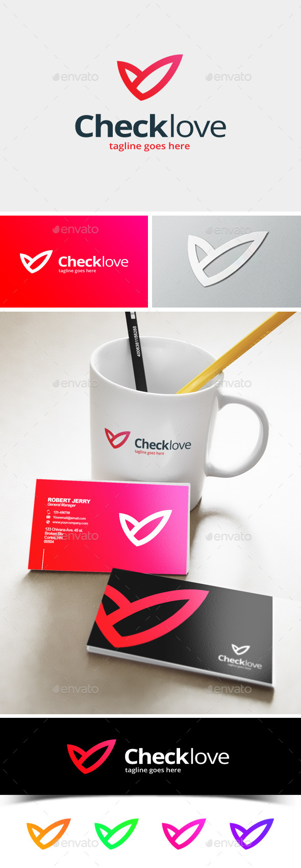 Check Love Logo - Abstract Logo Templates