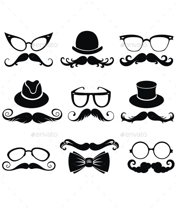Mustache. Retro Party Set - Conceptual Vectors
