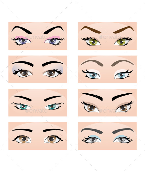 Set of Female Eyes and Eyebrows - People Characters