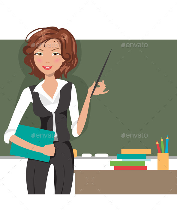 Teacher at Blackboard - People Characters