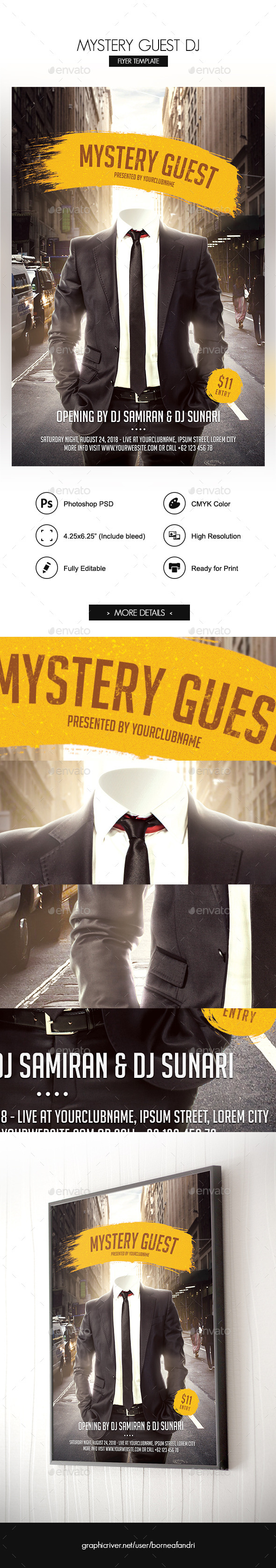 Mystery Guest DJ Flyer - Clubs & Parties Events