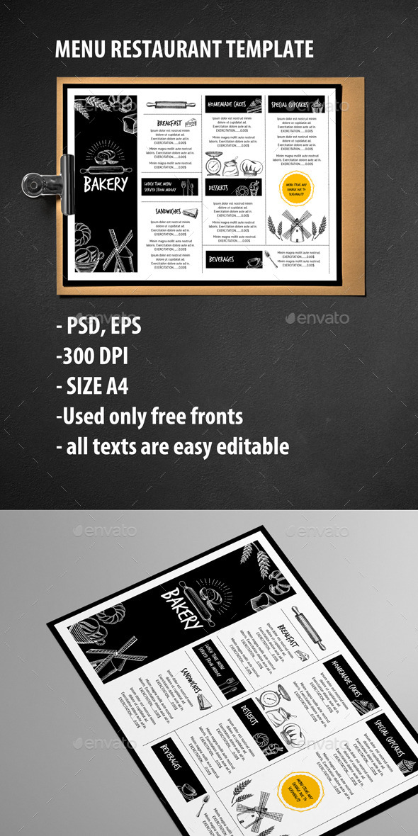 Menu Restaurant Template - Food Menus Print Templates