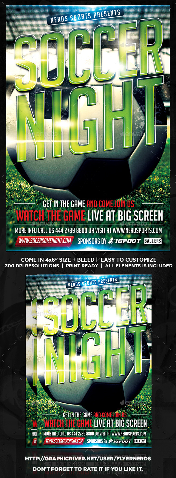 Soccer Night Sports Flyer - Sports Events