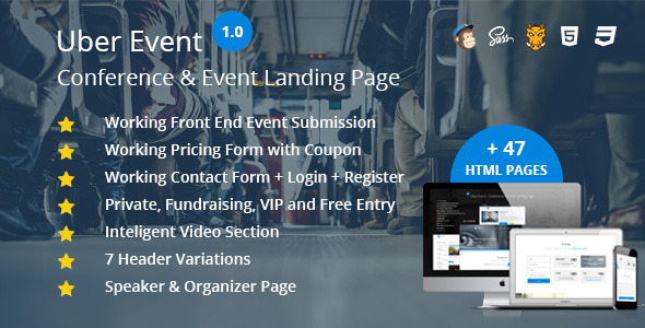 Uber Event – Conference & Event Landing Page