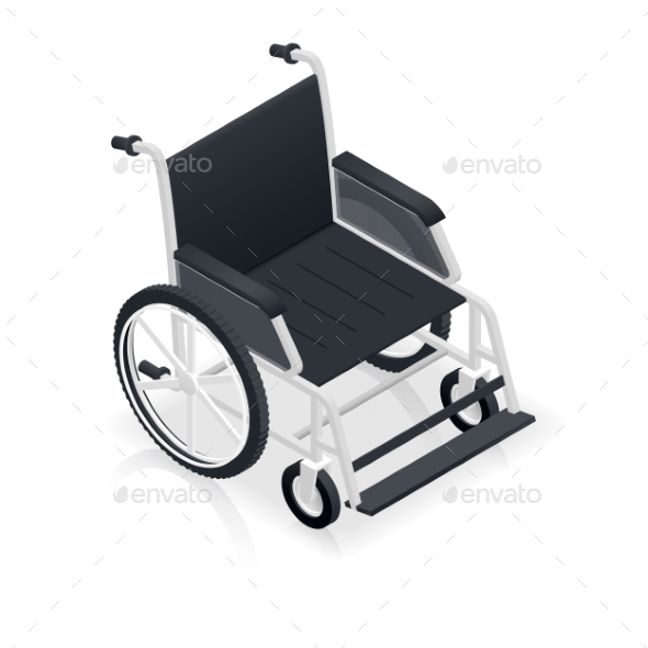 Wheelchair Detailed Isometric Icon - Health/Medicine Conceptual