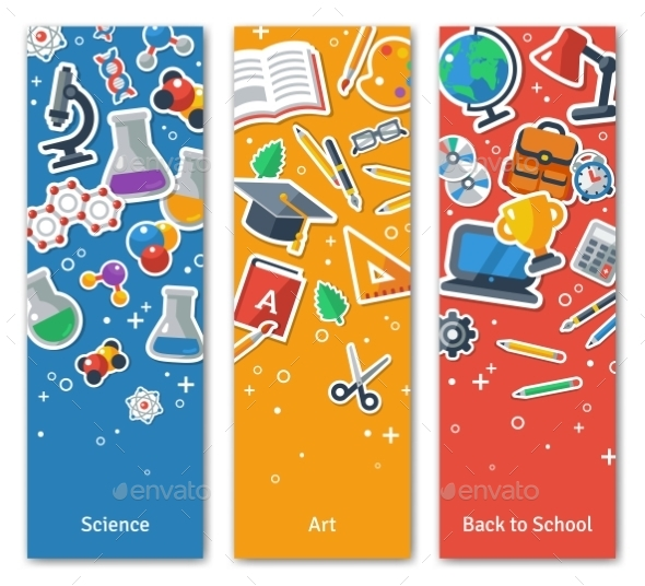 Back To School Vertical BannersSet With Flat - Miscellaneous Conceptual