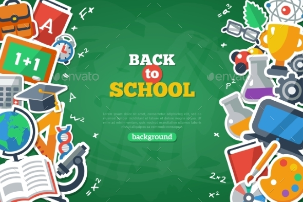 Back To School Banner With Flat Icon Set - Miscellaneous Conceptual