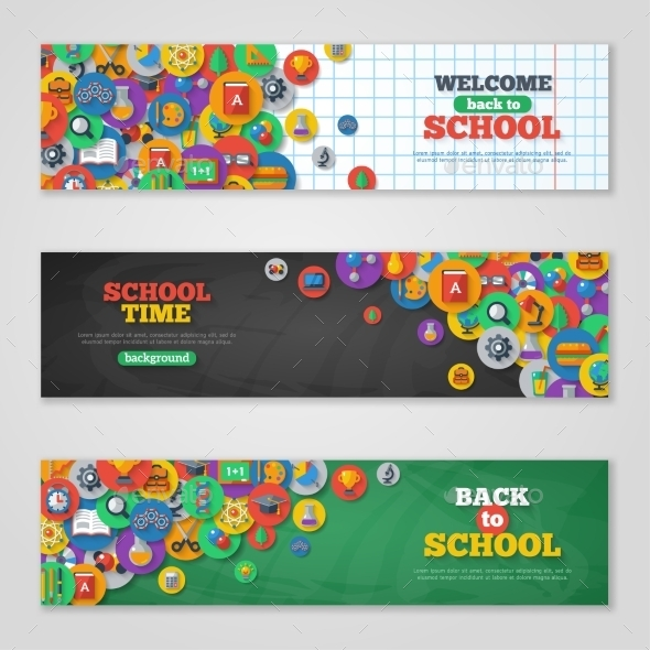 Back To School Banner Set With Flat Icons - Miscellaneous Conceptual