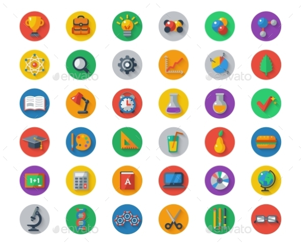 Flat School Icons On Circles With Shadow. Vector - Miscellaneous Conceptual