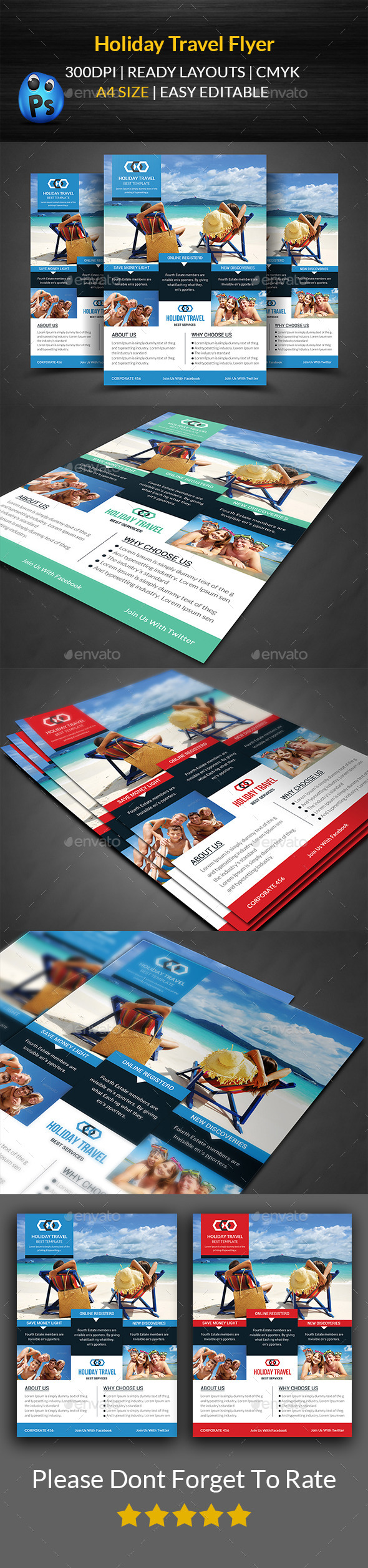 Holiday Travel Flyer Print Templates  - Corporate Flyers