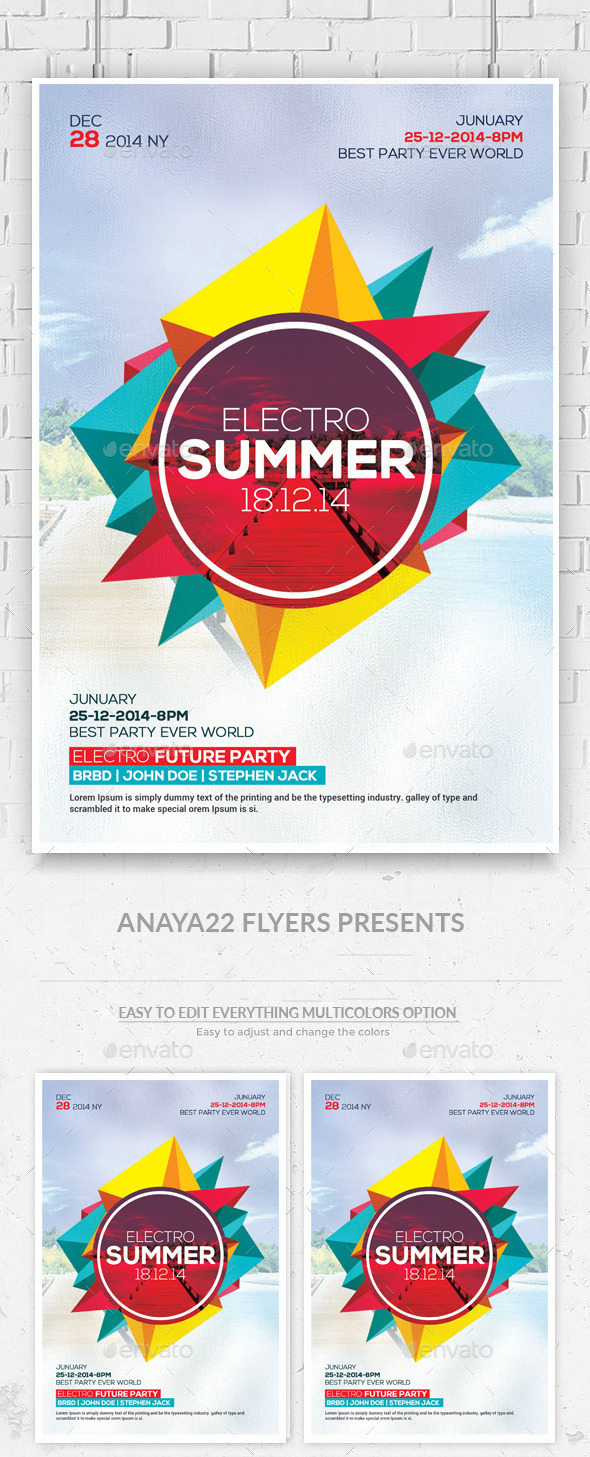 Summer Party Flyer Psd Templates  - Clubs & Parties Events