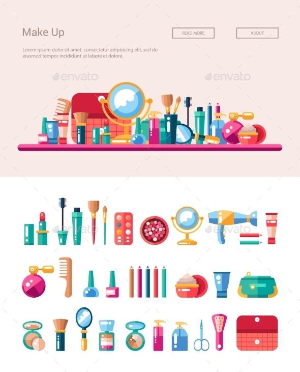 Set Of Flat Design Cosmetics, Make Up Icons - Web Elements Vectors