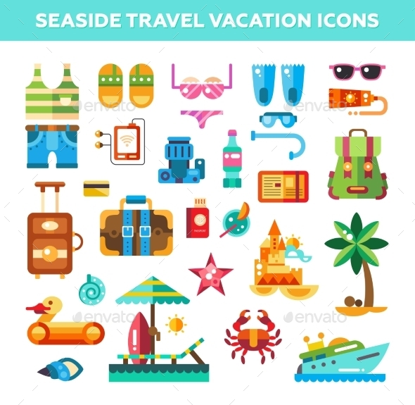 Set Of Flat Design Seaside Travel Vacation Icons - Web Elements Vectors