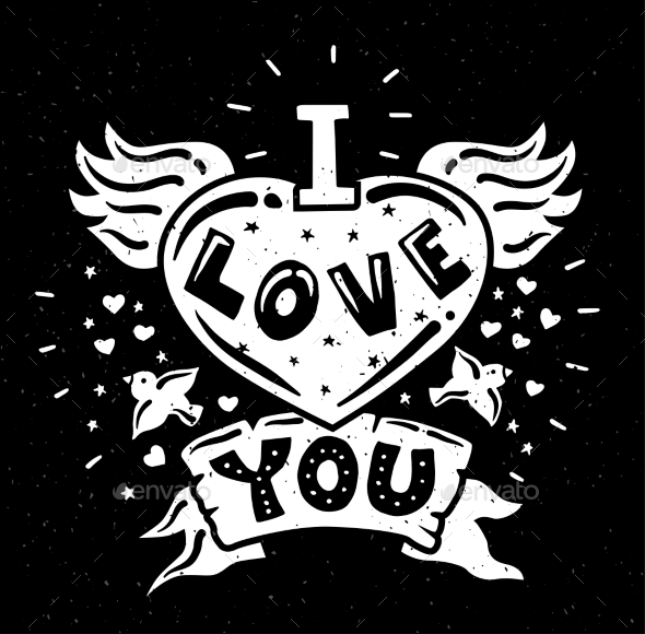 I Love You Illustration with Quote - Backgrounds Decorative