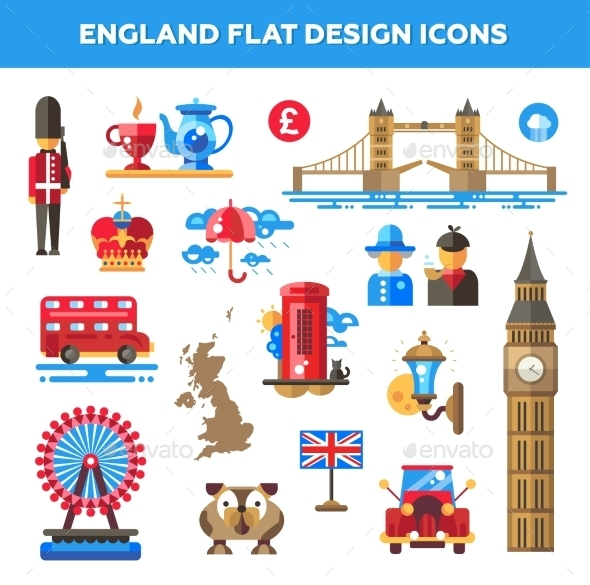 Set Of Flat Design England Travel Icons - Web Elements Vectors