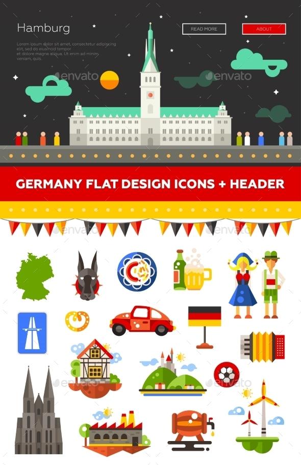 Set Of Flat Design Germany Travel Icons - Web Elements Vectors
