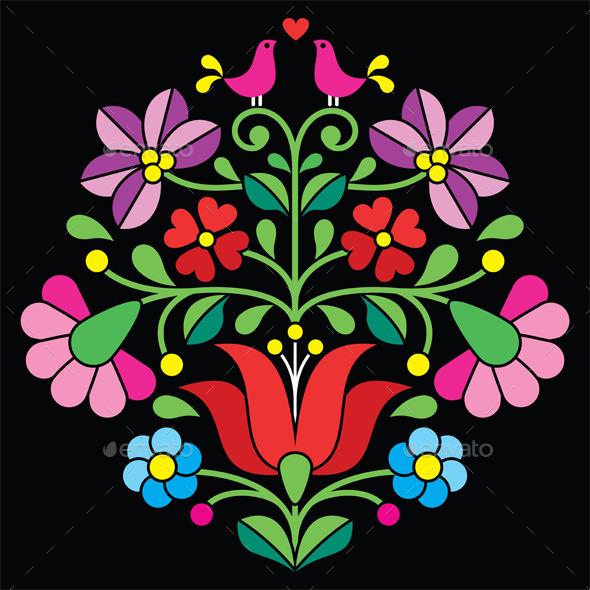 Kalocsai Embroidery - Hungarian Floral Folk Pattern - Patterns Decorative