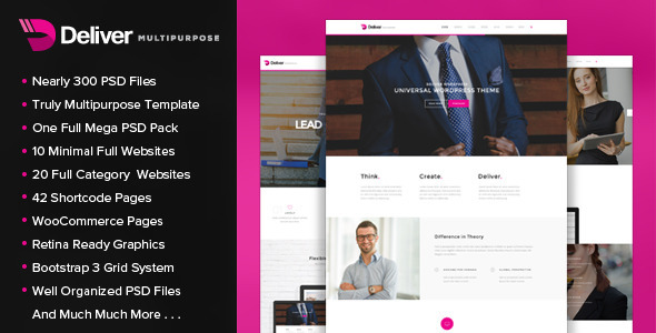 Deliver – Multipurpose PSD Template