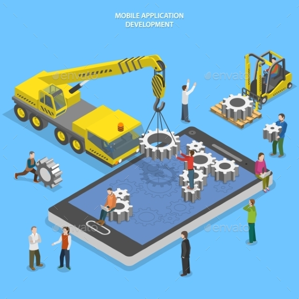 Mobile App Development Flat Isometric Vector - Web Technology