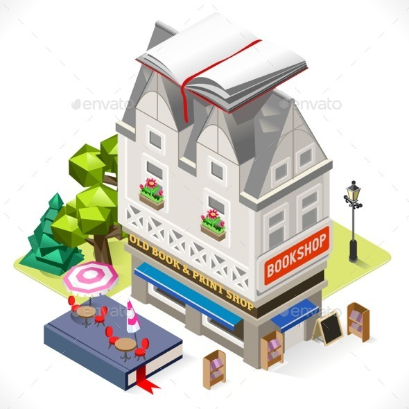 Book Shop City Building 3D Isometric - Buildings Objects