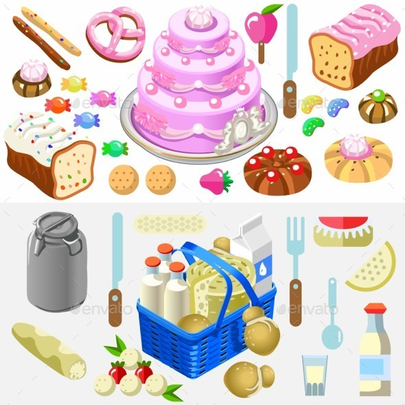 Food Set Candy and Dairy 3D Isometric - Food Objects