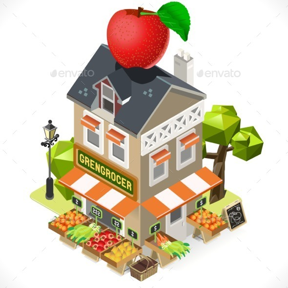 Greengrocer Shop City Building 3D Isometric - Buildings Objects