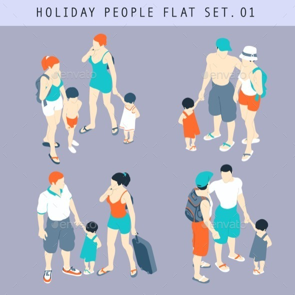 Tourist People 3D Flat Isometric Set - People Characters