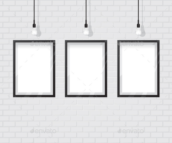 Black Frame on Brick Wall - Backgrounds Decorative