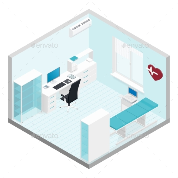 Cabinet Cardiologist Isometric Room Set - Health/Medicine Conceptual