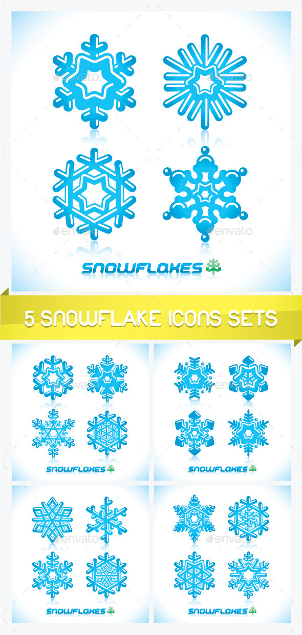 Five Snowflake Icons Sets - Miscellaneous Conceptual
