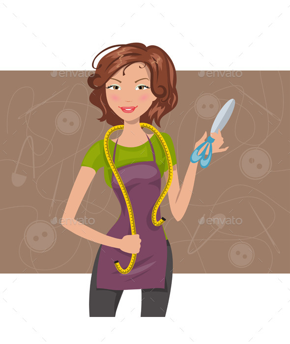 Woman Seamstress With Scissors and Meter - People Characters