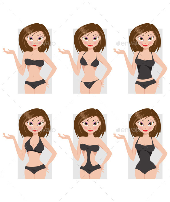 Types of Swimsuits - People Characters