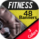 Fitness Banner Set in 3 Awesome Colors - GraphicRiver Item for Sale